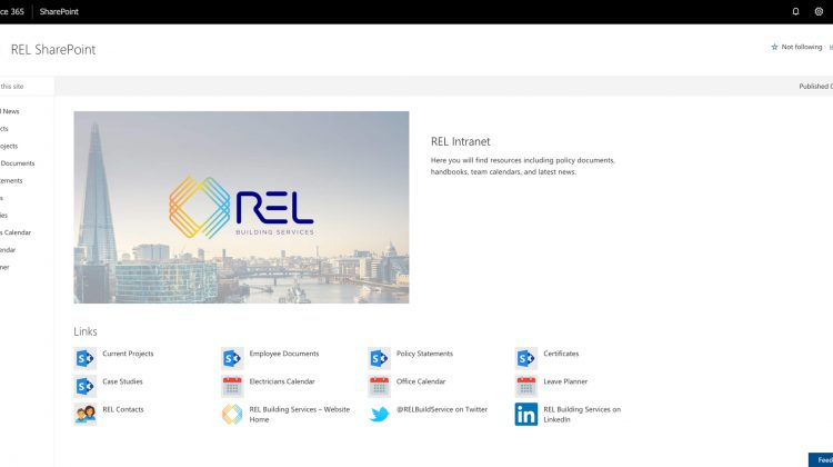 REL Building Services internal SharePoint site launch